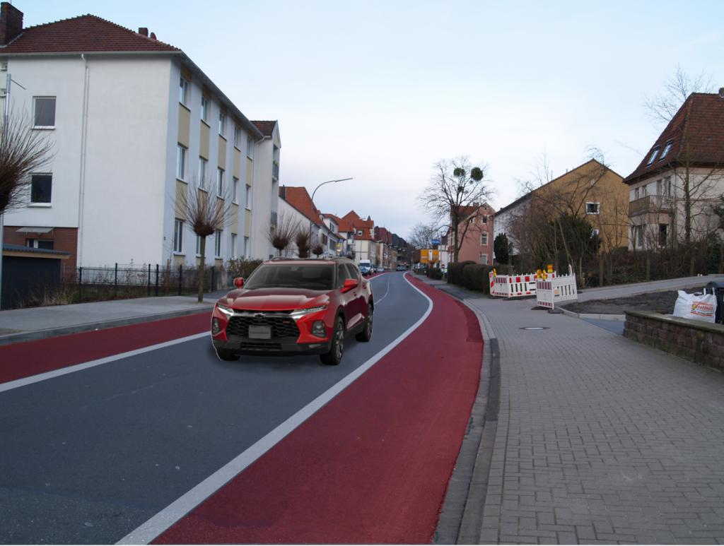Visualisierung der Osnabrücker Straße als Einbahnstraße stadtauswärts. Foto: J. Weid-ner/IpF, Visualisierung: C. Lührmann/IpF